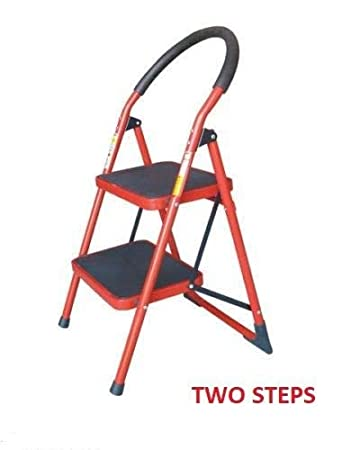 DEENZ New Heavy Duty Household RED Steel Folding Portable Wide 5 Step Ladder with GRIPPED Tread Anti-Slip Steps (5 Step)