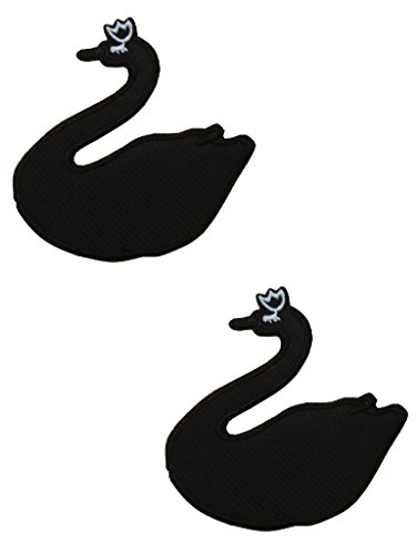 2 pieces BLACK SWAN Iron On Patch Applique Animal Motif Fabric Ballet Weddings Decal 3.4 x 3.2 inches (8.5 x 8 (Swan Motif)