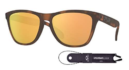 Oakley Frogskins OO9013 9013G0 55M Matte Brown Tortoise/Prizm Rose Gold Polarized Sunglasses For Men For Women+BUNDLE with Oakley Accessory Leash Kit (Oakley Frogskin Frauen)