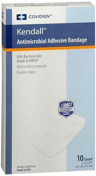 Antimicrobial Adhesive Bandages - Kendall Antimicrobial Adhesive Bandages - 10 Count, Pack of 6