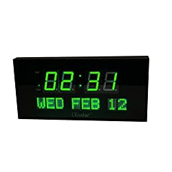 Diastar Large LED Clock with Date- Green