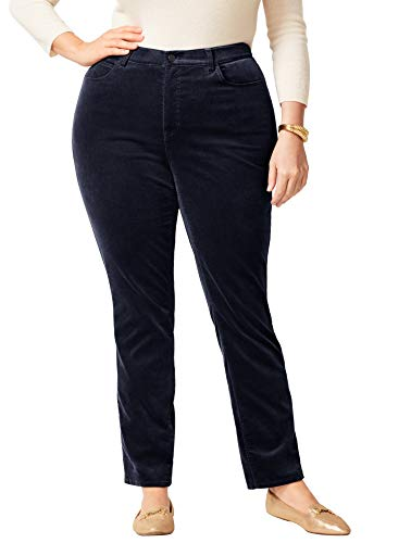 Talbots High-Rise Velveteen Straight-Leg Pants - Plus Size 22 Indigo ()
