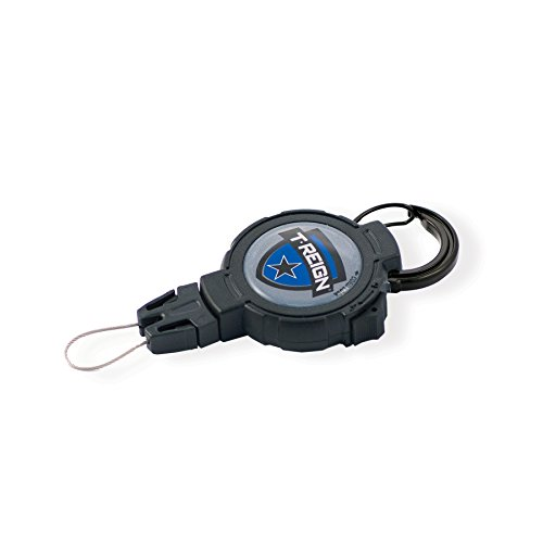 T-REIGN Outdoor Large Retractable Gear Tether, Carabiner, 48 Kevlar Cord, 8 oz. Retraction, Cord Lock, Black Polycarbonate Case, Universal Attachment
