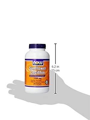 Now Foods Sunflower Lecithin Non GMO, 1200mg, Soft-gels, 200-Count