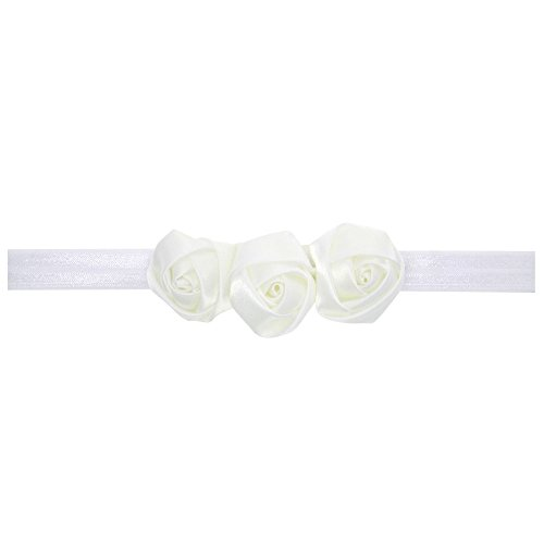 White Rose Headband (Love Sweety Baby Girls Satin Rose Flower Headband Cute Hair Accessories (White))