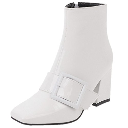 Booties White Leather Thick Boots Square Womens Toe Zip Dress Block Heel Ankle Patent Rongzhi Buckle w4zqxn6wO