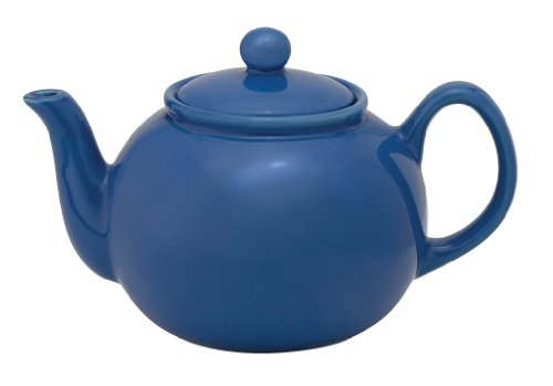 HIC Teapot with Stainless Steel Infuser, Ceramic Stoneware, Blueberry, 6-Cup, 32-Ounce Capacity