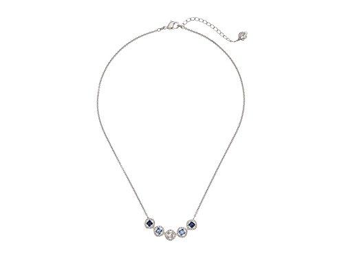 Swarovski Crystal Blue Angelic Square Rhodium-Plated Necklace