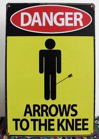 Home Decoration Vintage Danger Arrows To The Knee Painting Metal Tin Sign N-106 (Arrow Vintage Metal)
