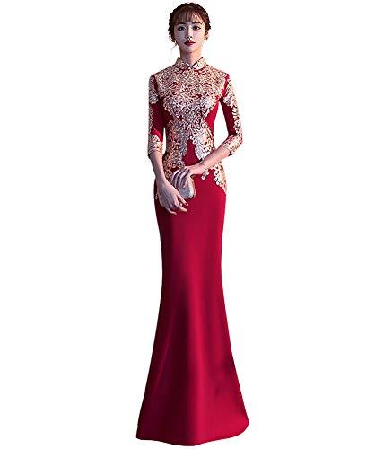 Drasawee Chinese Style Slim Fish Tail Dress Wedding Cheongsam Dress Long Qipao for Bride