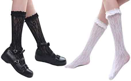 074a19e813fd4 Women Summer Lace Wedding Party Dress Princess Crew Socks 2 Pack White Black