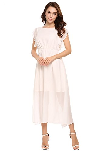 Chiffon Split Loose Bluetime Midi Dress Ruffle Casual Womens Swing Dresses White Sleeve 7wCYxE1qY