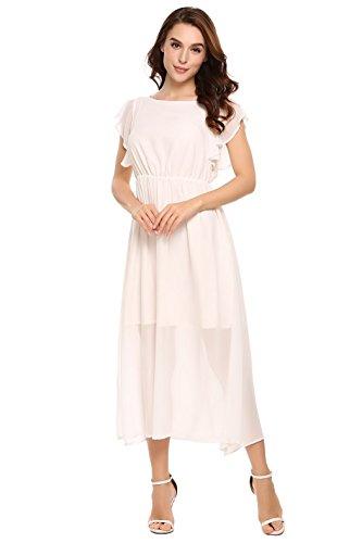 Dress Chiffon Sleeve Ruffle Bluetime White Dresses Swing Casual Womens Split Midi Loose wEqqvXA