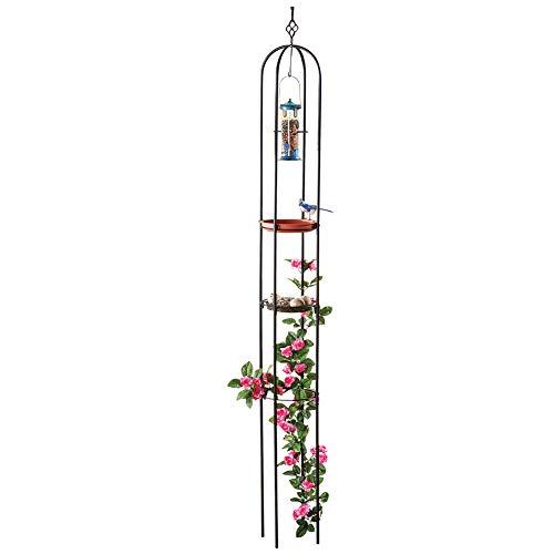 Collections Etc Metal Trellis with Hanging Bird Feeder Garden Stake Display, Terracotta Dish Bird Bath and Mesh Feeder Level