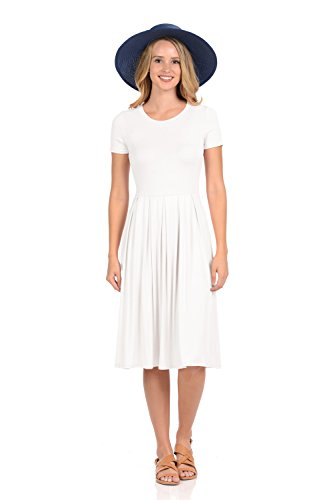 iconic luxe Women's Short Sleeve Pleated Midi Dress with Pockets X-Large Ivory