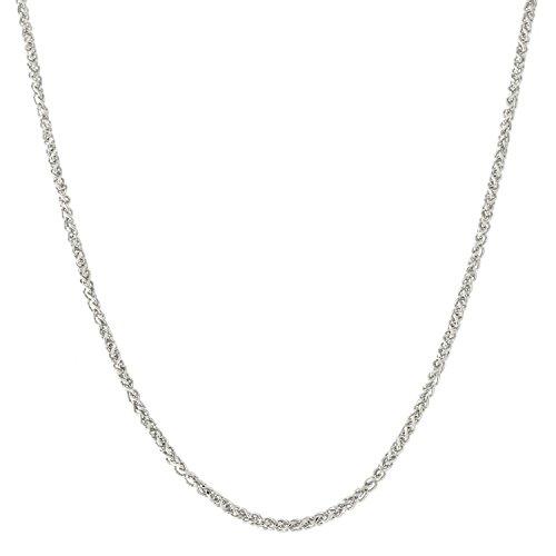 Beauniq 18k White Gold 1.1mm Round Wheat Chain Necklace, 18