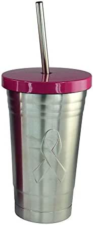 Pink Ribbon Breast Cancer Awareness 16 oz. Stainless Steel Travel Drink Cup Tumbler with Straw (Design1)