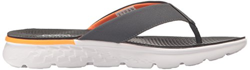 Performance Skechers Mens Sur Le Pouce 400 Flip Flop Charbon De Bois / Orange