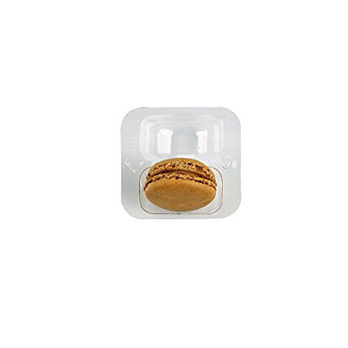 PacknWood Clear Plastic Macaron Insert with Clip Closure, Holds 2 Macarons (Case of 125 Sets)