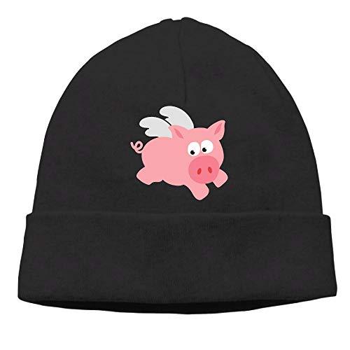 Ghhpws Flying Pig Beanie Wool Hats Knit Skull Caps Warm Winter Beanies for Men Women Black