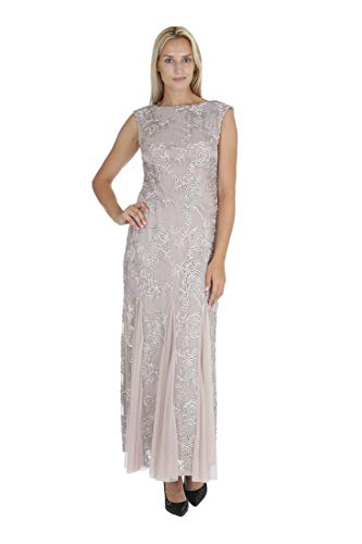 - ONYX Nite Women's Sleeveless Embroidered Tulle Gown with Mesh Godet Taupe 8