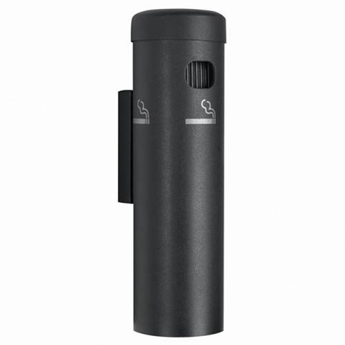 Wall Mounted Cigarette Receptacle Color Black - Aarco Wall