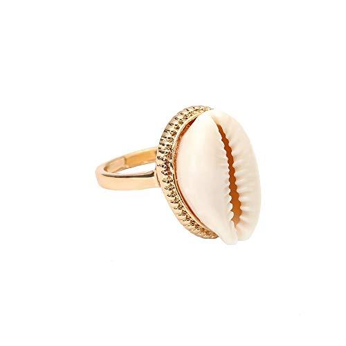 (Mrotrida Shell Ring for Women Teen Girls Fashion Natural Sea Shell Finger Rings Bohemian Midi Rings Jewelry Gold )