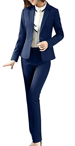 Women Blazers Suits Two Pieces Solid Work Office Lady Business Suit Formal Blazer Jacket Suits Outwear Coat Navy