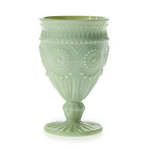 Green Glass Goblet - Accent Decor Pretty Jadeite-Look Milk Green Glass Vintage Style Elena Chalice Goblet Vase