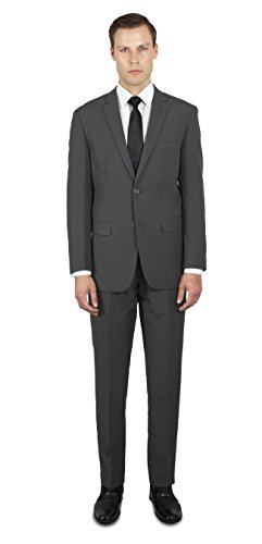 s Two Button Slim or Regular Fit Suit 52L Charcoal Grey ()