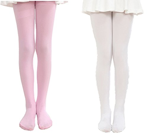 Kids Girls Footed Tight Solid Semi Opaque Pantyhose Stocking for Dancing Costume White&Pink,2XL/12-15 Years -