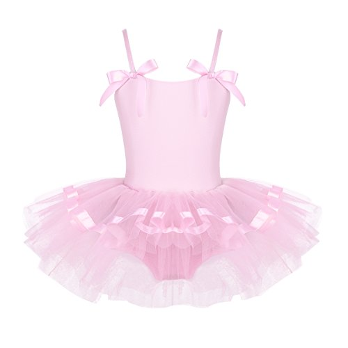 FEESHOW Girls Sequined Camisole Ballet Dress Leotard Chiffon Skirt Sparkly Fairy Dance wear Costumes Bowknot Pink 5-6