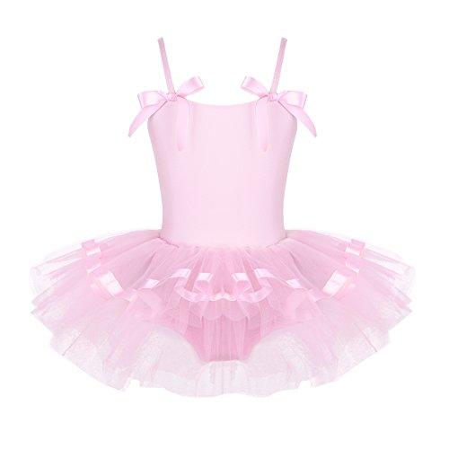 iEFiEL Kids Girls Spaghetti Straps Ballet Dance Tutu Dress Gymnastic Leotard Skater Skirt Pink Bowties 4-5 by iEFiEL