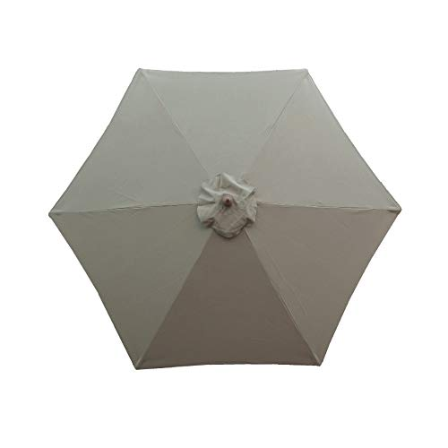 Formosa Covers 9ft Umbrella Replacement Canopy 6 Ribs in Taupe Canopy Only