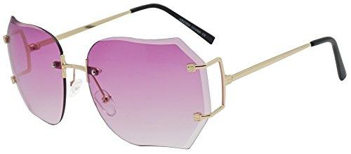Oversized 70s Classic Large Rimless Laser Cut Lens Sunglasses Women's Frameless Clear Lenses Eyewear Glasses (Gold | Purple, - Prescription Glasses Style 70s