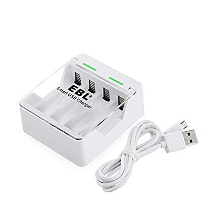 EBL Smart Battery Charger - Speed & Compact - Ultra Fit for 1/2/3/4 AA AAA Rechargeable Batteries