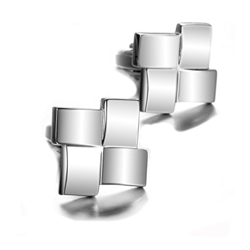 MeliMe Mens Stylish Modern Luxury Crystal Stainless Steel Cufflinks for Shirt Wedding Party Business (Solid silver style 2) ()