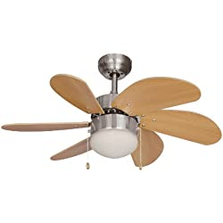 Hardware House 10-4852 Ceiling Fan with lights, Beach Wood/Satin Nickel