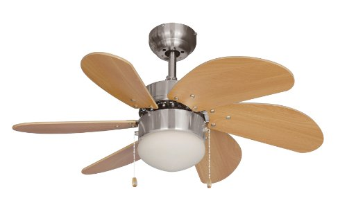 Hardware House 10-4852 Ceiling Fan with lights, Beach Wood/Satin Nickel by Hardware House