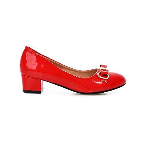 Mosaïque Tire À Cuir Chaussures Femme Talon Légeres Bas Agoolar Rond Pu Rouge txq0Btw84