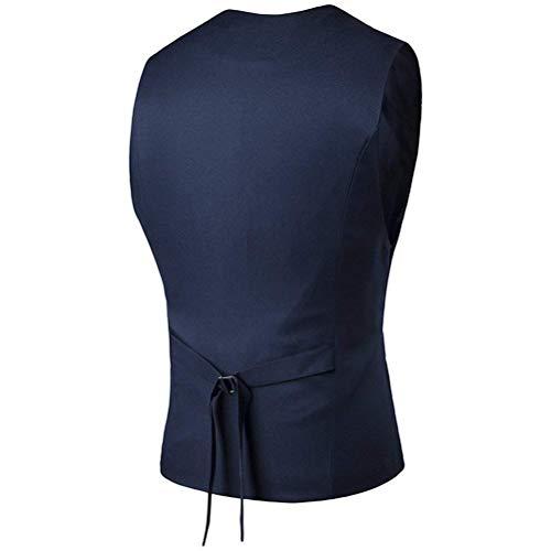 del V Top Chaleco En del del Sin del Mangas Diseñado Cuello Azul Los Chaleco Negocio Boda del Chaleco Traje Ajuste del De Chaleco Sin del De Traje Mangas Ropa Hombres Oscuro del aREOf