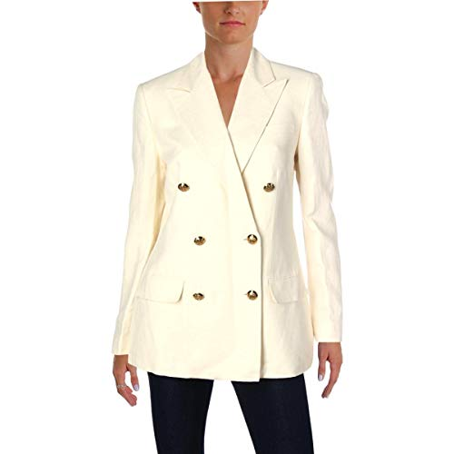 LAUREN RALPH LAUREN Womens Linen Blend Double-Breasted Blazer Ivory 8
