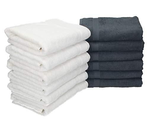 BETZ 12 Unidades Toallas de Mano Serie Palermo 100% Algodon Color Blanco y Gris Antracita 12 Toallas tamaño 50x100 cm: Amazon.es: Hogar