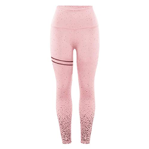 - Yeefant Women's Dots Print Butt Lift Yoga Capri Sports Gym Workout Fitness Running Leggings Stretch Pants Fitness Exercise Pilates Athletic Trousers - Pink
