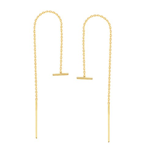 Threader Earrings 14K Yellow Gold Polished Double Staple Bar with Box Chain (14k Yellow Gold Chain Earrings)
