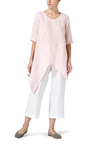 - Vivid Linen Asymmetrical Hem Tunic-XL-Baby Pink