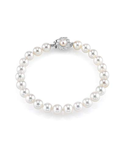 THE PEARL SOURCE 14K Gold 7-8mm AAA Quality Round White Freshwater Cultured Pearl Flower Clasp Bracelet for Women