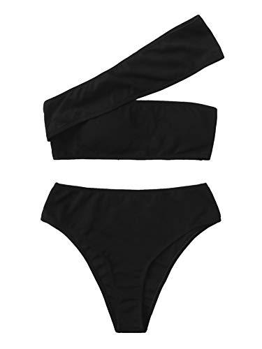 SweatyRocks Women's Bathing Suits One Shoulder Ribbed Bikini Set High Waisted Swimsuits Black - Black One Shoulder Swimsuit