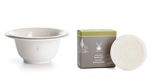 Muhle White Porcelain Lathering Bowl With 65g Aloe Vera Shaving Soap Refill