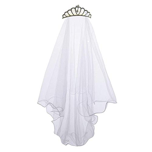 Apregies Flower Girls First Communion Veil Headband Crown Diamond Headwear Comb White -